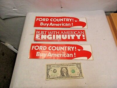 3 vintage Ford Country Buy American & Built With Enginuity Bumper Stickers - NOS