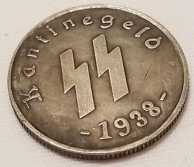 WW2 WWII German Elite coins SS Kampft Weiter 1 Schilling Kantine bar money 1938