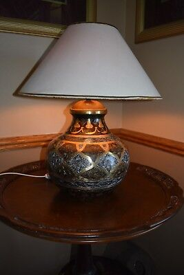 Large Vintage Etched Brass Table Lamp Beautiful Tri-Color Patina