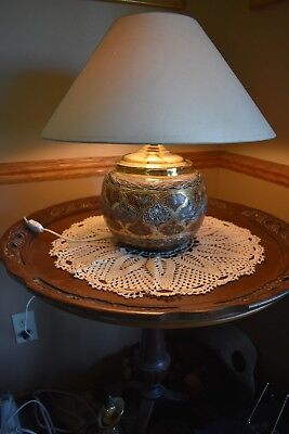 Medium Vintage Etched Brass Table Lamp Beautiful Tri-Color Patina