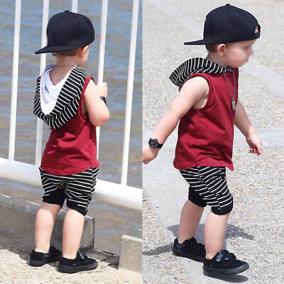 Kids Baby Boys Casual Outfits Sets T-Shirt Hooded Tank Tops Vest + Shorts Pants