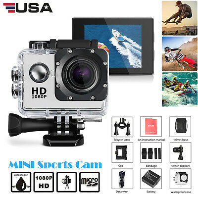 "Outdoor Sport Action Camera 1080P HD 2"" Camcorder Go Waterproof Pro Bike Helmet"