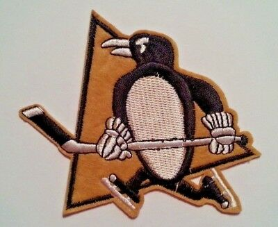 "Pittsburgh Penguins Bestickt Applikation Patch ~ 4 "" X 4 ""~ NHL ~ Iron Sew ~"