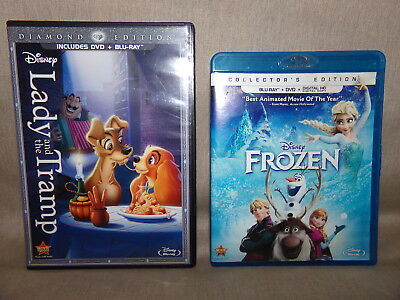 Walt Disney Blu-Ray Movie LOT DVD Frozen Lady Tramp Diamond Edition Children +