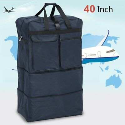 "40"" Expandable Rolling Duffle Bag Wheeled Spinner Suitcase Luggage VD"