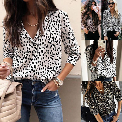 UK STOCK Women V Neck Ladies Leopard Print Chiffon Loose T Shirt Tops Blouse