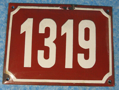 "Vintage European French Red Porcelain House Number Sign 8"" x 6"""