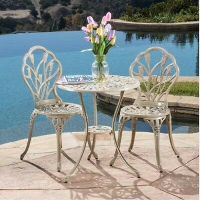 Patio Furniture Set Table Chairs Outdoor Bistro Decor Dining Accessories White