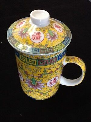 Chinese Porcelain Tea Cup Handled Infuser Strainer with Lid 10oz Yellow A