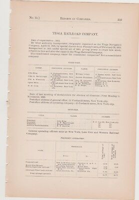 1891 PA RR train report TIOGA RAILROAD COMPANY Arnot Hoytville Bloomsburg