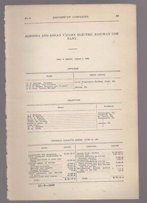 1908 Pennsylvania trolley report ALTOONA AND LOGAN VALLEY ELECTRIC RAILWAY PA RR