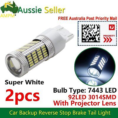 2x Projector Lens T20 7443 92-SMD LED Car Auto Brake Turn Tail Stop Light WHITE