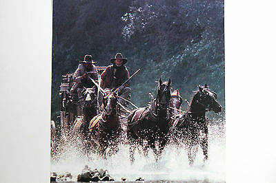 New Rare Wells Fargo Stampeding Horses Western Stagecoach Armed Courier Poster