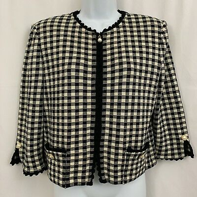 ST. JOHN COLLECTION By Marie Gray Black White Cropped Zip Jacket Women's Sz 10