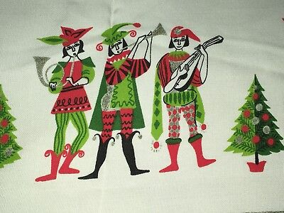 Christmas Tablecloth Vintage Mid Century Trees Wreath Holly Jesters Music 50's