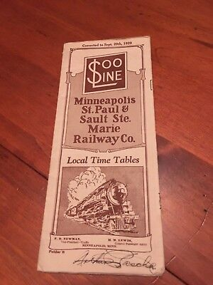 Vintage 1929 Soo Line Railroad/Railway Time Table Brochure Minneapolis/St. Paul
