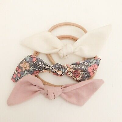 3 X Bow Headband Pack Baby Girl Newborn Floral Blush Pink Cream White Nylon Aus