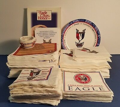 Eagle Scout Court Of Honor Lot - Plates, Napkins, Decorations, Book, Cupcake...