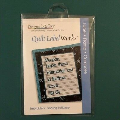 Designer's Gallery Quilt LabelWorks Embroidery Labeling Software