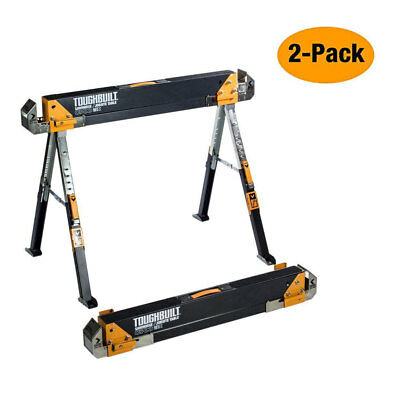 2-Pack 32 Tall Toughbuilt Steel Sawhorse Adjustable Height Portable Folding Pair