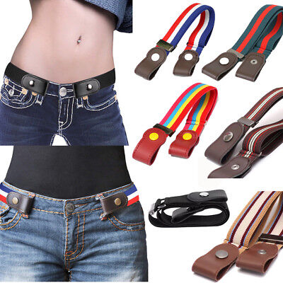 Women Kids Stretch No Buckle Invisible Buckle-less Belt for Jeans Pants Dresses