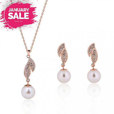 mnefel Wedding Bridal Jewelry Set Freshwater Cultured Pearl Pendant and Earrings