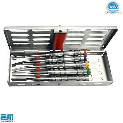 Split & Ochsenbein Chisel Instruments Set of 5 Implant Dental+FREE Cassette Rack
