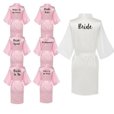 Women Satin Silk Wedding Bath Robe Bridesmaid Bride Party Maid Of Honor Gown
