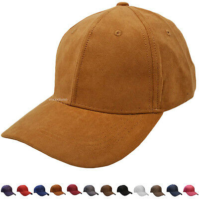 38019c7472f Suede Dad Hat Baseball Classic Adjustable Soft Plain Cap Mens Visor Polo  Style