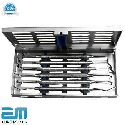 Dental Implant Sinus Lift Elevators Curettes Set of 7 with FREE Cassette Tray SS