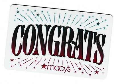 Macy's collectible gift card no value mint #65 Congrats