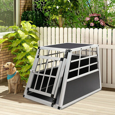Dog Pet Puppy Aluminium Cage Transport Crate Car Travel Carrier Box Kennel House