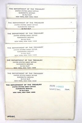 1972 P,D United States Uncirculated Mint Set Lot of 7 in Envelope 77 Coins #003