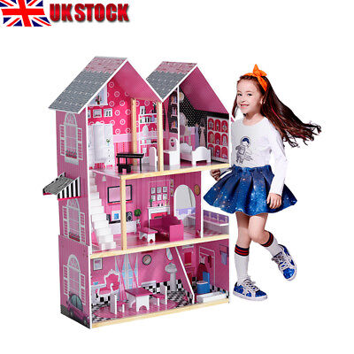 Wooden 3 Storey Dolls Girls House Toy Playset Pink With Furniture Accessories UK
