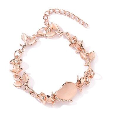 Women Lady Fashion Dazzling Opal Leaves Rose Gold Bracelet