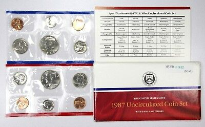 1987 P,D United States US Uncirculated Mint Set in Envelope 10 Coins #011