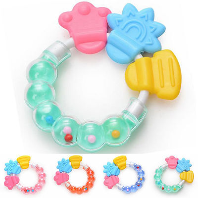 Healthy Baby  Kid Rattles Biting Teething Teether Balls Toys Circle Ring LS