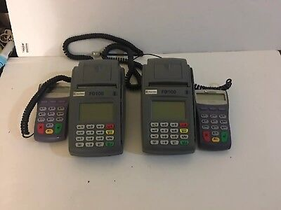 Lot Of( 2) First Data FD100 Credit Card Terminal and 2 verifone pinpad 1000se