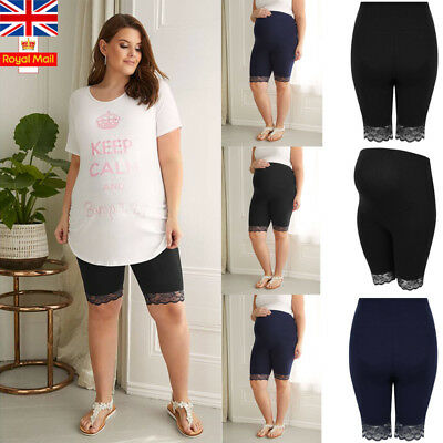 UK Women Pregnant Leggings Shorts Maternity Pants Summer Safety Casual Underwear