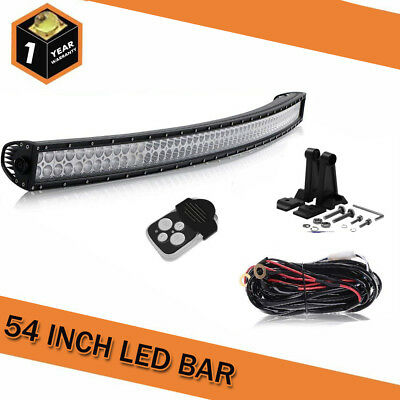 54inch LED Work Light Bar + Mounting Brackets For 4WD SUV Offroad Truck Ford