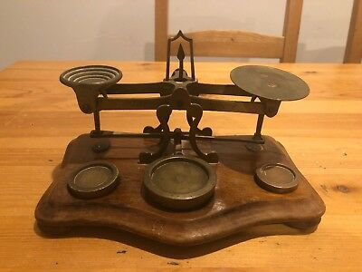 Vintage Brass Post Office Scales; William Mitchell's England; Collectable
