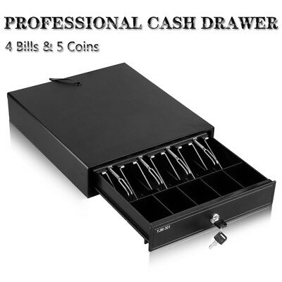 Heavy Duty POS Cash Register Drawer with 4 Bills 5 Coins Removable Cash Tray Box