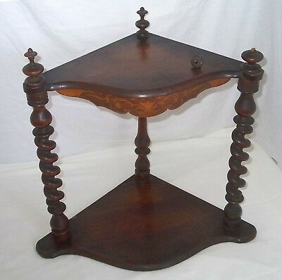 Antique Victorian Two Tier Corner Whatnot with Marquetry Frieze