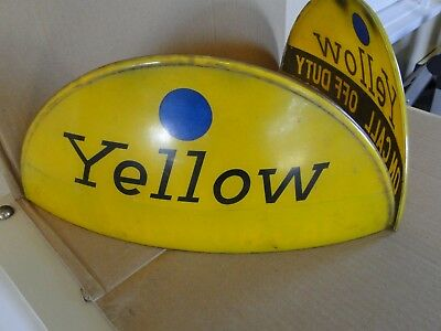 VINTAGE YELLOW TAXI Cab Dome Rooftop Signs on Duty Off Duty Blue Dot