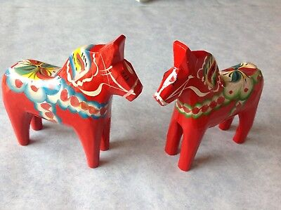 Two Swedish Red Dala Horses By Nils Olsson Green And Blue Design