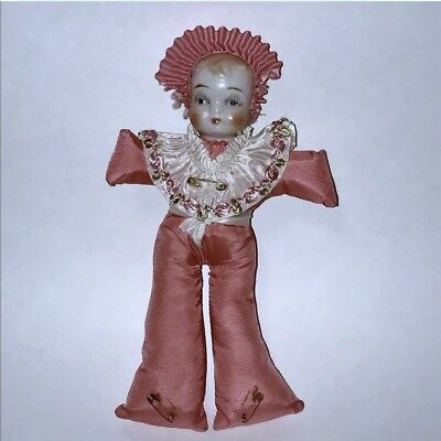 Vintage Antique Porcelain China Head Doll Pin Cushion 1920s 1930s Sewing