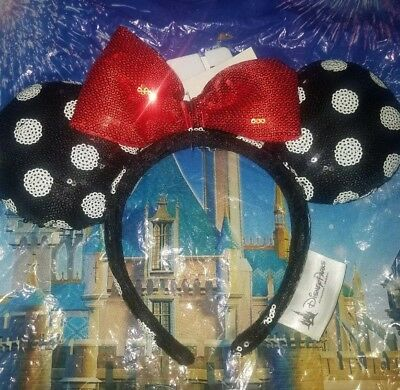 Disney Parks Minnie Mouse Bow Ears Headband Polka Dot Sequin Red Black - NEW