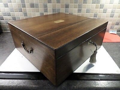 Victorian Inlaid Solid Oak Box With Brass Handles- Relined Interior- Lock & Key