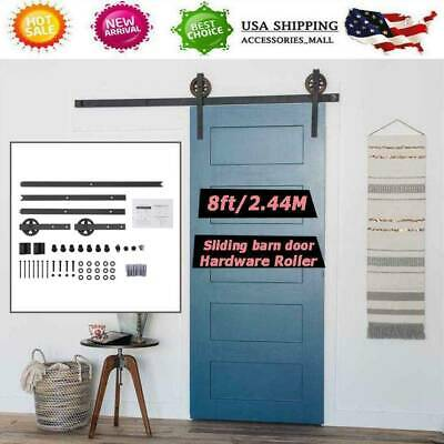 8FT Rustic Sliding Barn Wood Single Door Closet Cabinet Hardware Track Kit