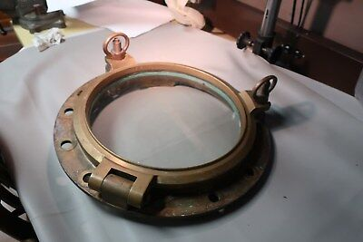 Antique Nautical Maritime 20 inch Solid Brass Framed Glass 2 dog Porthole Window
